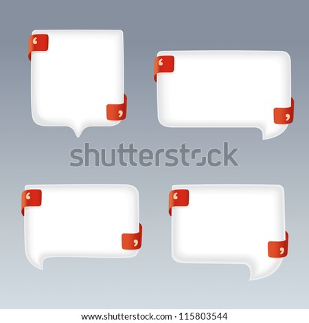 White Bubbles with Quote Marks on red Ribbons