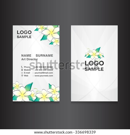 white Business card design,card design, vector illustration,white background, flower vector,name card