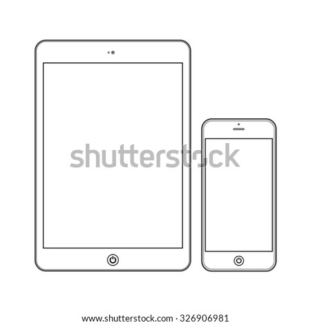 White Business Phone and White tablet with blank white screens. Illustration Similar To iPhone iPad.