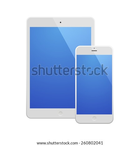 White Business Phone and White tablet with blue screen.Illustration Similar To iPhone iPad. - stock vector