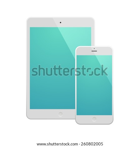 White Business Phone and White tablet with turquoise screen. Illustration Similar To iPhone iPad. - stock vector