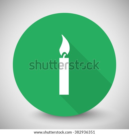 White Candle Light icon with long shadow on green circle