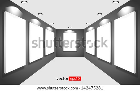 white canvas on the walls of the gallery - stock vector