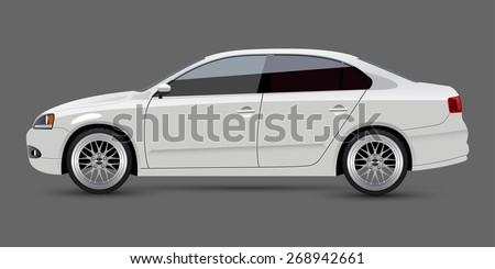 White Car - stock vector