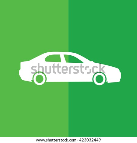 White car icon vector illustration. Green background