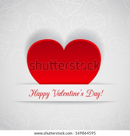 White card for Valentine's Day with red paper heart