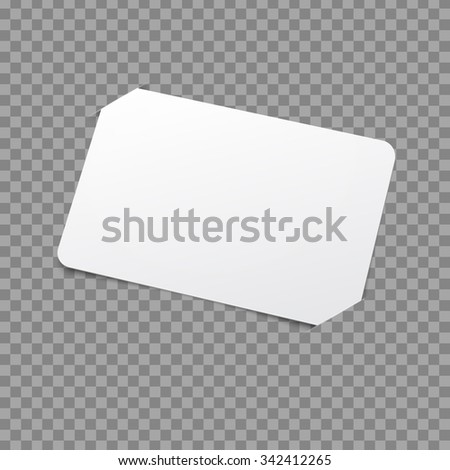 White Card Template. Vector Mockup with placeholder - stock vector
