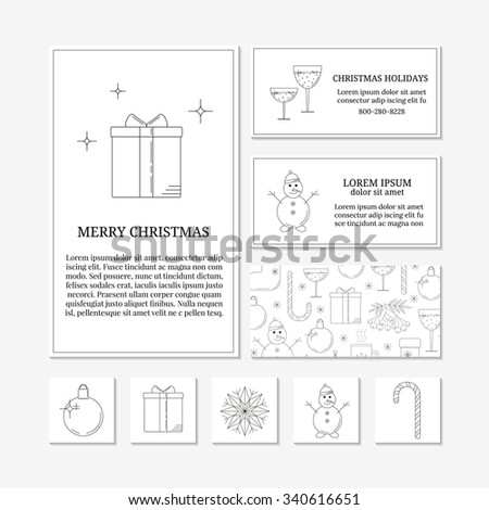 White card templates with linear Christmas icons. Set of Christmas cards with different winter and Christmas symbols. Christmas ball, present box, snowflake, snowman, candy cane. - stock vector