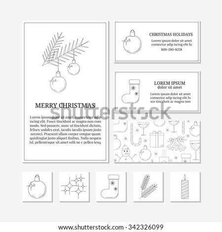 White card templates with linear Christmas icons. Set of Christmas cards with different winter and Christmas symbols. Christmas ball, Christmas lights, sock, fir twigs, candle. - stock vector