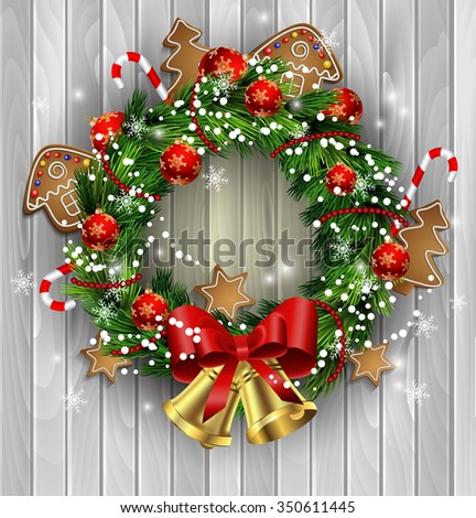 White card with Christmas wreath and bow and bells isolated on wood background with gingerbread - stock vector