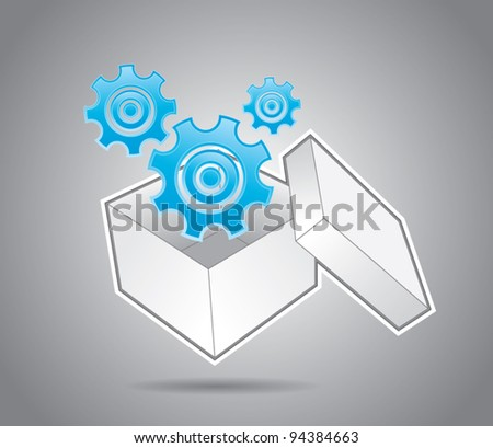 White cardboard box with bolts, innovation and organization in business concept, vector illustration - stock vector