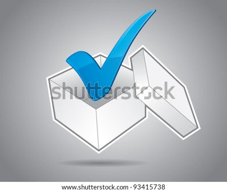 White cardboard box with check mark, approved business idea concept, vector illustration - stock vector