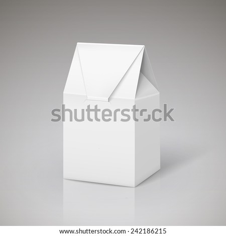 white cardboard carry bag packaging isolated over grey - stock vector