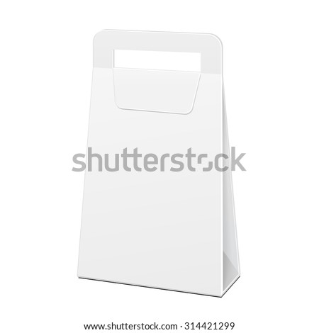 White Cardboard Carry Box Bag Packaging With Handles For Food, Gift Or Other Products. Illustration Isolated. Mock Up Template Ready For Your Design. Vector EPS10