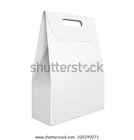 White Cardboard Carry Box Bag Packaging With Handles For Food, Gift Or Other Products. On White Background Isolated. Ready For Your Design. Product Packing Vector EPS10 - stock vector