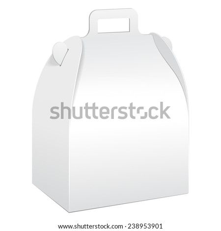 White Cardboard Carry Box Packaging For Food, Gift Or Other Products. On White Background Isolated. Mock Up Template Ready For Your Design. Product Packing Vector EPS10 - stock vector