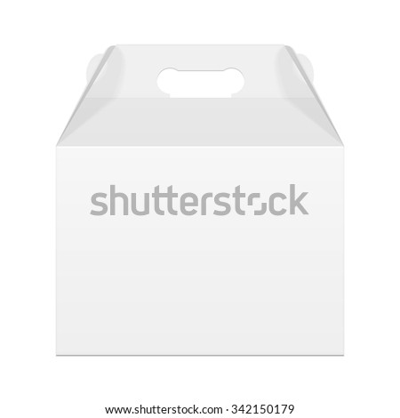 White Cardboard Carry Box Packaging For Toy, Electronics, Gift Or Other Products. Illustration Isolated On White Background. Front View. Mock Up Template Ready For Your Design. Packing Vector EPS10 - stock vector