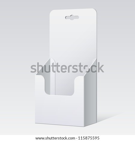 White Cardboard holder for brochures and flyers. Vector Illustration - stock vector