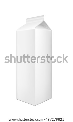 White cardboard package for beverage, juice and milk.