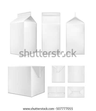 White cardboard package for beverage, juice and milk
