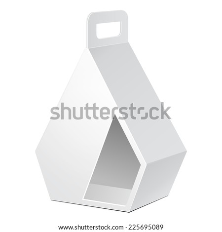 White Cardboard Pentagonal Carry Box Bag Packaging For Food, Gift Or Other Products. On White Background Isolated. Ready For Your Design. Product Packing Vector EPS10