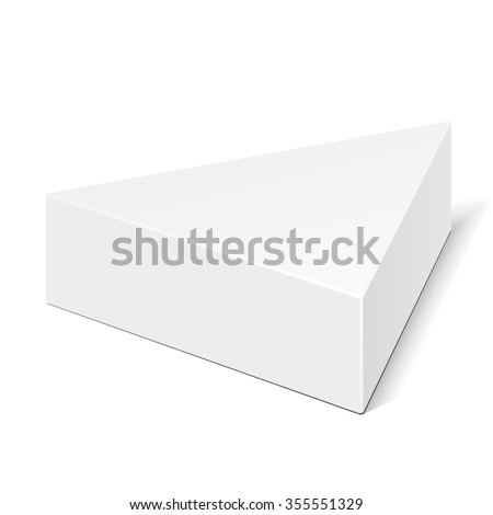 White Cardboard Triangle Box Packaging For Food, Gift Or Other Products. Illustration Isolated On White Background. Mock Up Template Ready For Your Design. Product Packing Vector EPS10 - stock vector