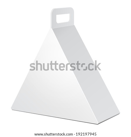 White Cardboard Triangle Carry Box Bag Packaging For Food, Gift Or Other Products. On White Background Isolated. Ready For Your Design. Product Packing Vector EPS10 - stock vector
