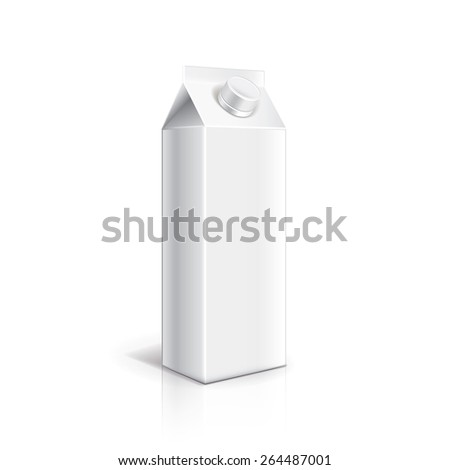 White carton packaging for milk or yogurt isolated on white photo-realistic vector illustration