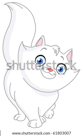 White cat - stock vector
