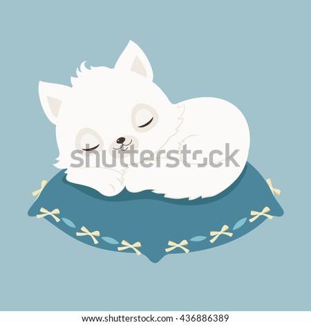 blue pillow clipart. white cat/kitten sleeping on a blue pillow. vector cartoon illustration pillow clipart