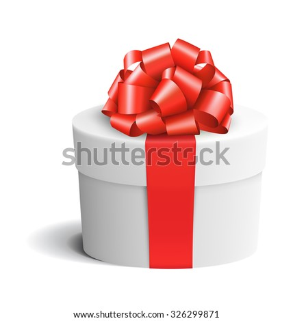 White Celebration Gift Box with Red Bow Isolated on White Background