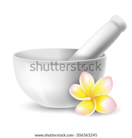 White ceramic mortar and pestle with flowers plumeria. Vector illustration. Isolated on white background. - stock vector