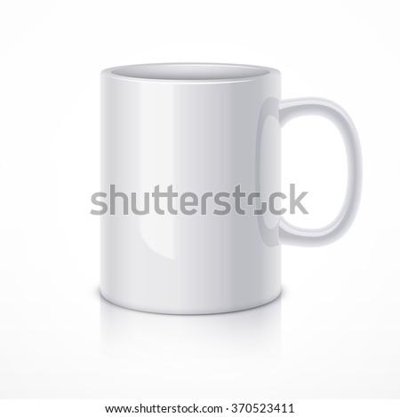 White ceramic mug for coffee or tea. Realistic vector illustration - stock vector