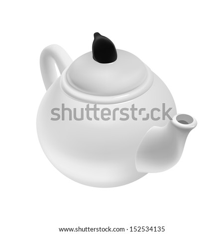 white ceramic teapot isolated vector illustration