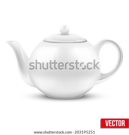 White ceramic teapot. Vector illustration. Isolated of background. - stock vector