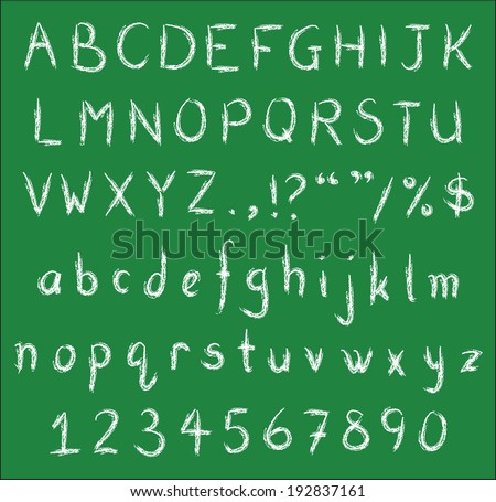 White chalk handwritten alphabets, numbers and common punctuation on green black board. Vector Fonts. - stock vector
