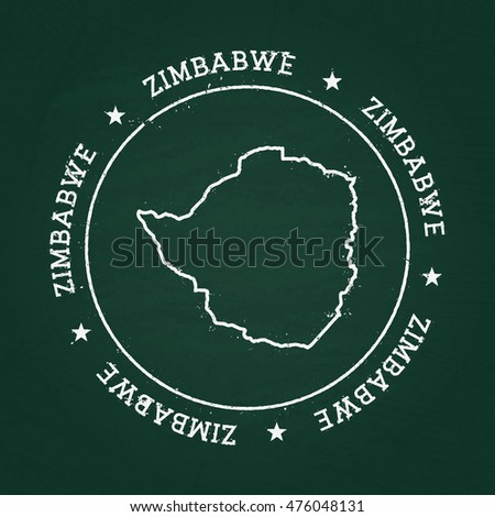 White Chalk Texture Rubber Seal Former Stock Vector - Republic of zimbabwe map