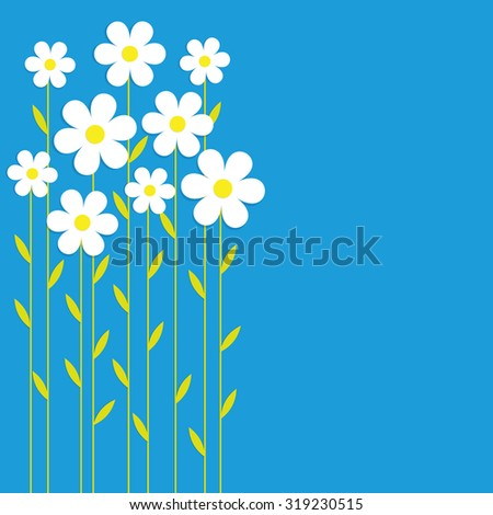White chamomiles on a blue background. Card, background, vector - stock vector