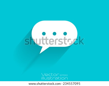 White chat bubble with dots icon on blue background - stock vector