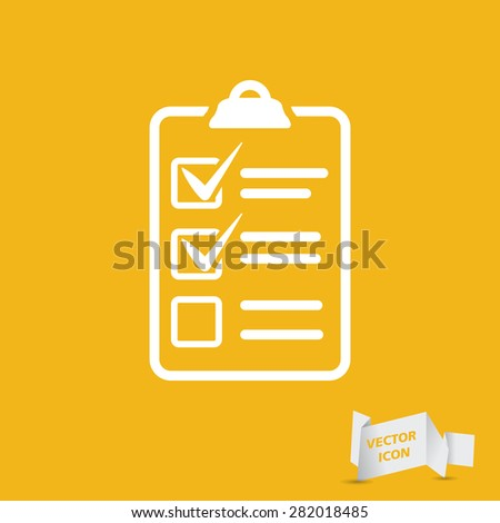 white check list icon on a yellow background - stock vector