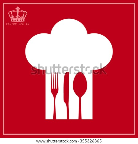 White Chef hat with fork, spoon and knife inside  - stock vector
