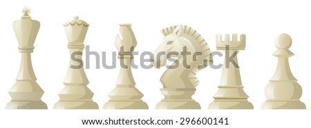 White chess pieces in a row illustration - stock vector