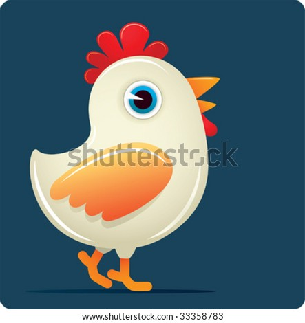 White Chicken - stock vector