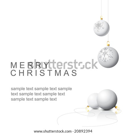 White Christmas bulbs with snowflakes ornaments on a white background - stock vector