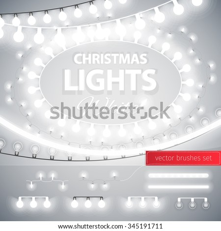 White Christmas Lights Decoration Set for Celebratory Design. Used pattern brushes included. - stock vector