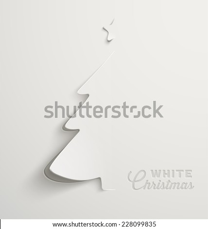 White Christmas, minimal Christmas card design, Vector Illustration - stock vector