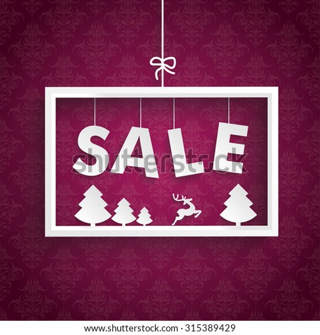 White christmas sale frame on the purple background. Eps 10 vector file. - stock vector