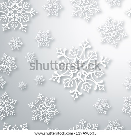 White Christmas snowflakes seamless pattern background. Vector illustration layered for easy manipulation and custom coloring. - stock vector