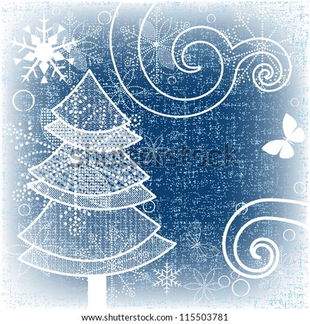 White Christmas tree - stock vector