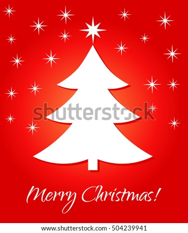 White Christmas tree on red background. Vector illustration greeting card